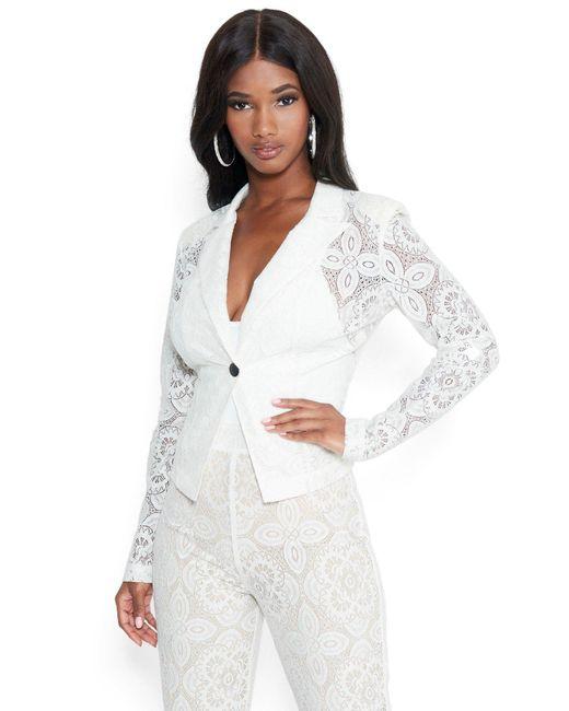 Bebe White Lace Blazer