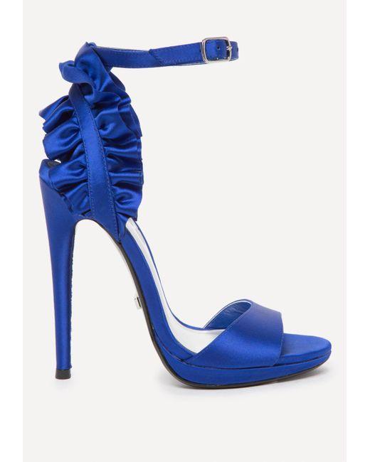 Bebe - Blue Elle Satin Ruffle Sandals - Lyst
