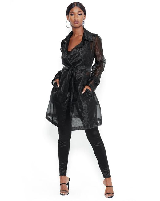 Bebe Black Organza Belted Trench Coat