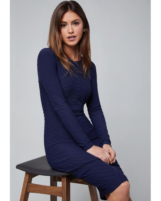 Bebe - Blue Textured Midi Dress - Lyst