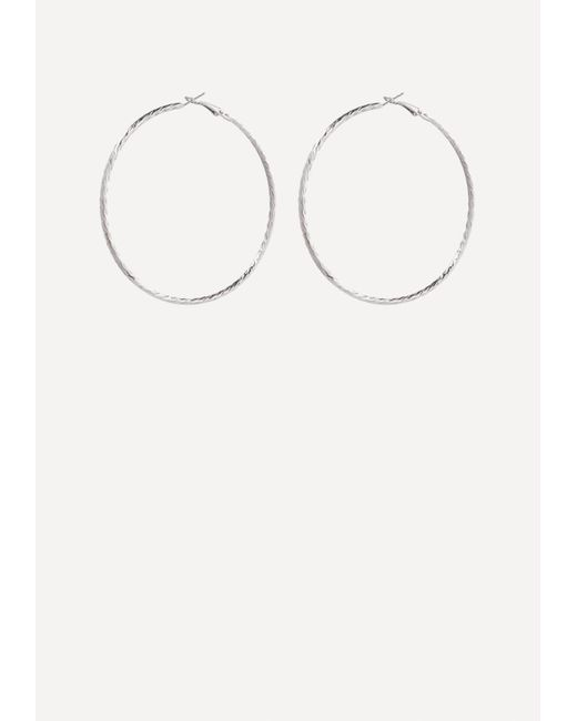 Bebe - Metallic Textured Hoop Earrings - Lyst