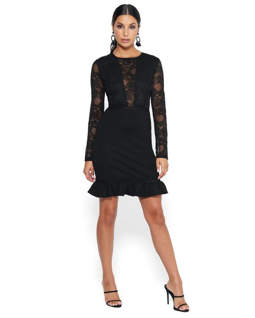 Bebe Black Long Sleeve Lace And Ponte Dress