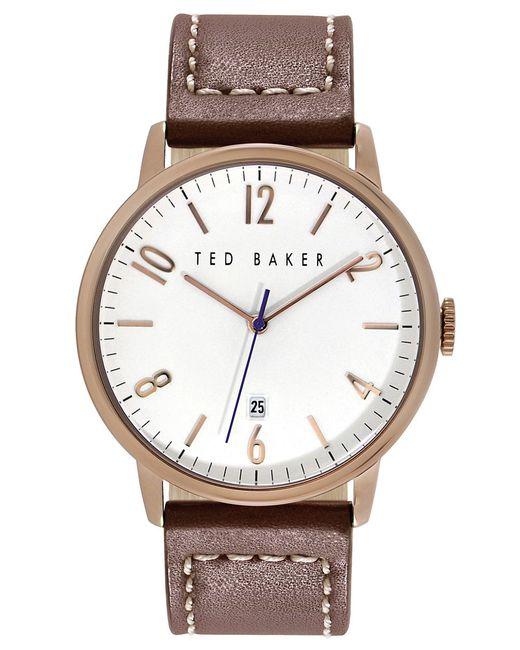Ted Baker | Pink Modern Vintage Leather Strap Watch, 42mm for Men | Lyst