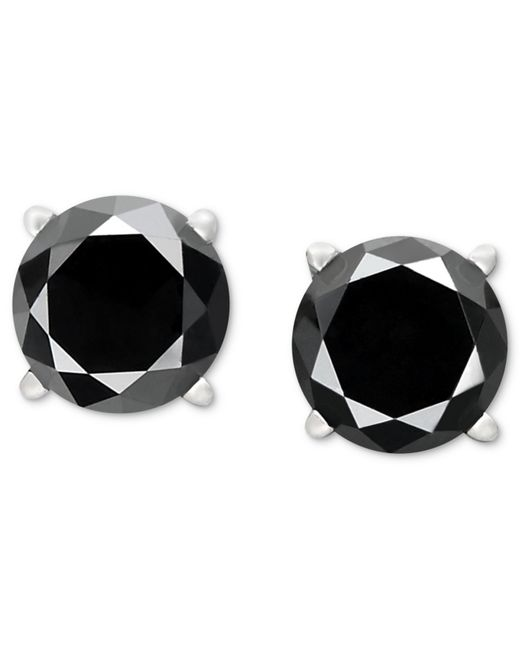 Macy's | Black Diamond Stud Earrings In 14k White Gold (1-1/2 Ct. T.w.) | Lyst