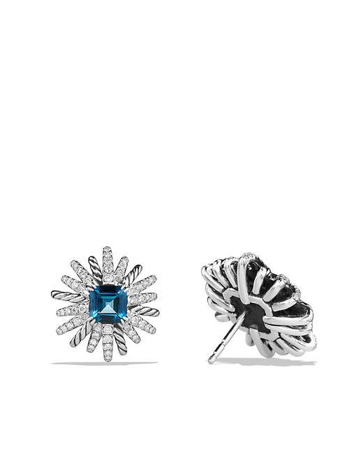 David Yurman | Starburst Earrings With Hampton Blue Topaz And Diamonds, 19mm | Lyst