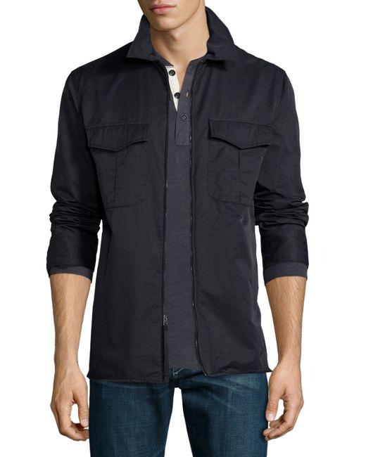 Rag bone sheiff full zip shirt jacket in black for men for Rag and bone mens shirts sale