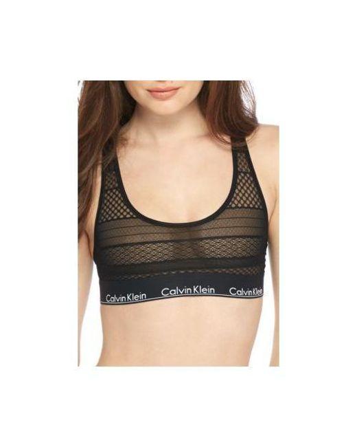 704800f532cde5 Lyst - Calvin Klein Modern Cotton Lace Bralette in Black