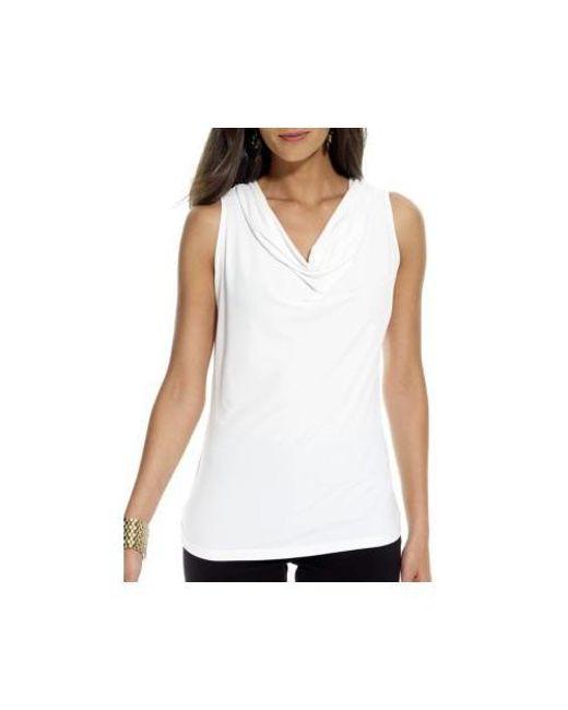 46becf4de6 Lyst - Calvin Klein Sleeveless Cowlneck Knit Top in White