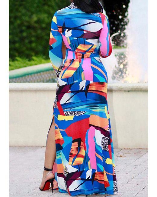 12579cf5a08 Belle lily Plus Size Color Block Wrap Slit Maxi Dress in Blue