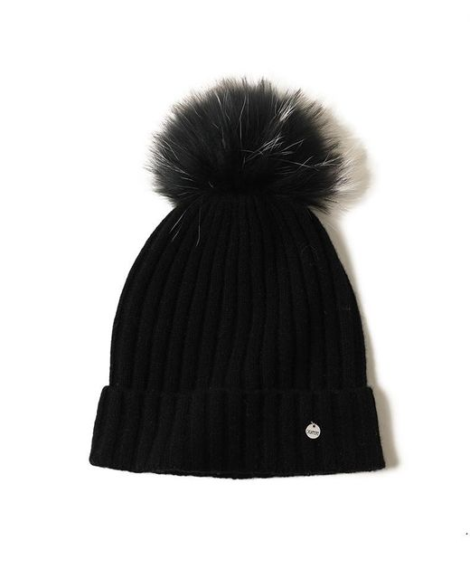Bellemere New York Black Fur Pom Beanie