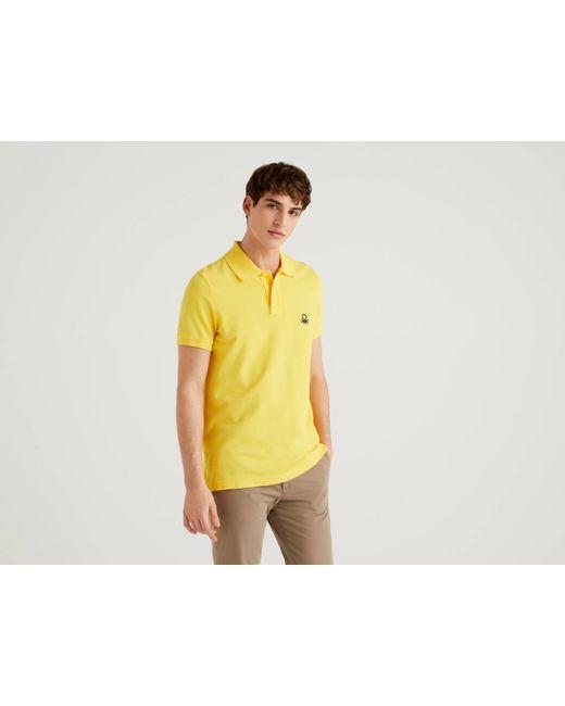 Polo Slim Fit Amarillo Benetton de hombre de color Yellow