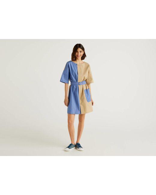 Vestido Corto Bicolor 100% Algodón Benetton de color Natural
