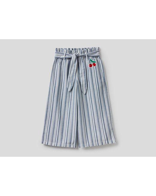 Pantalón Amplio De Rayas Con Cinturón Benetton de color Blue