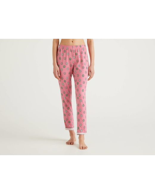 Pantalón Largo Con Estampado De Flores Benetton de color Pink