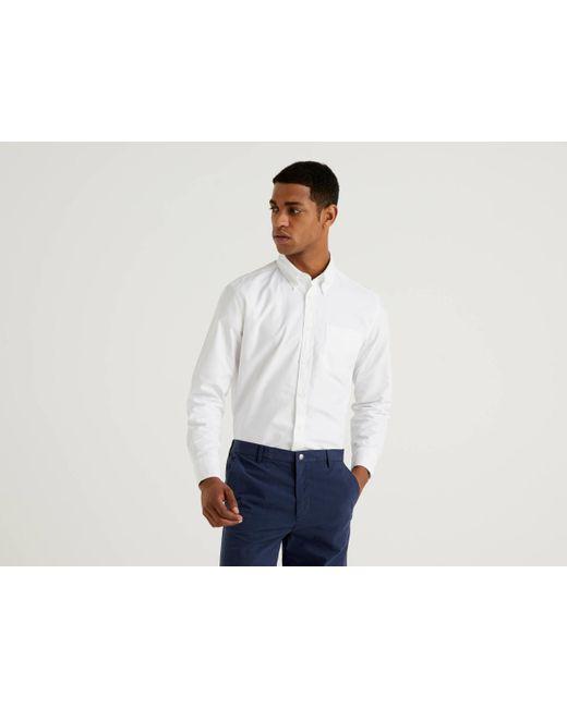 Camisa Regular Fit De 100 % Algodón Benetton de hombre de color White