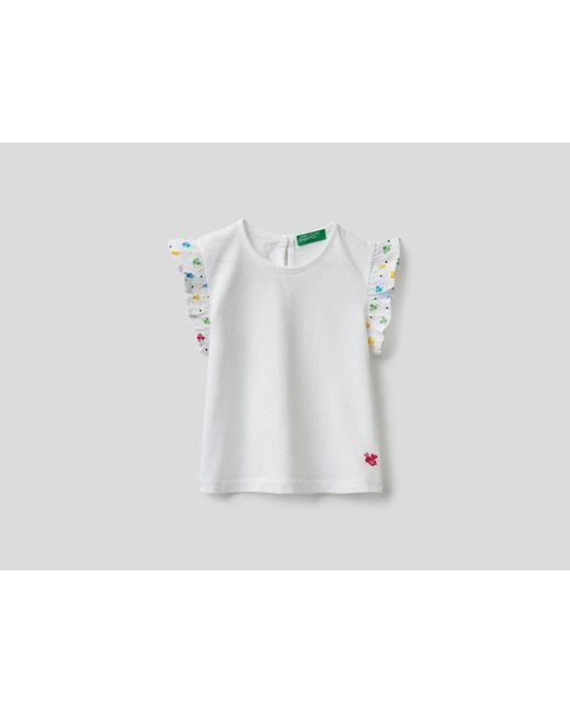 Camiseta Con Volantes En Las Mangas Benetton de color White