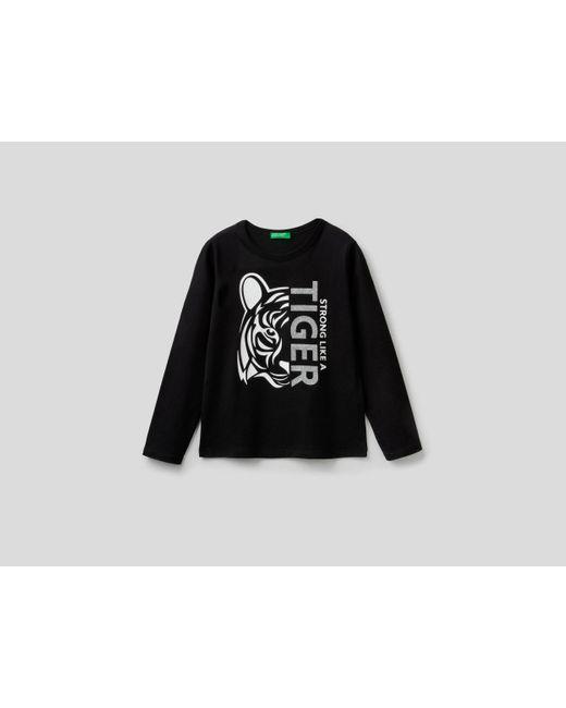 Camiseta Estampada De 100 % Algodón Benetton de color Black