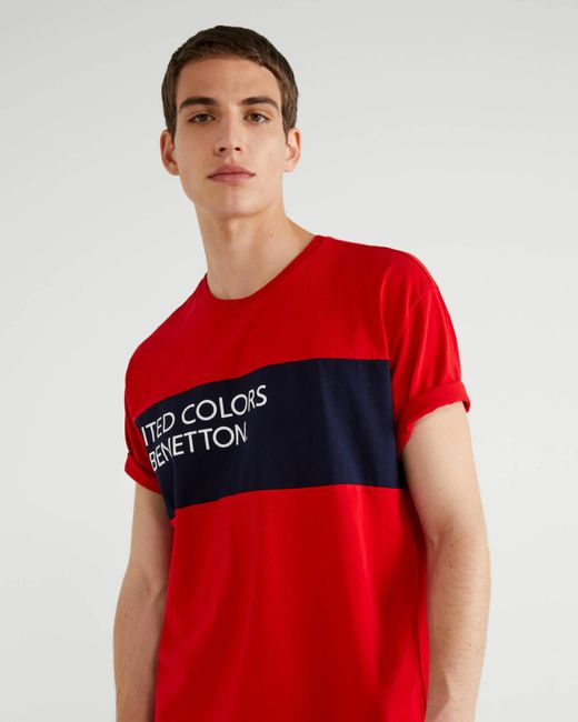 T-shirt Con Inserto E Logo di Benetton in Red da Uomo