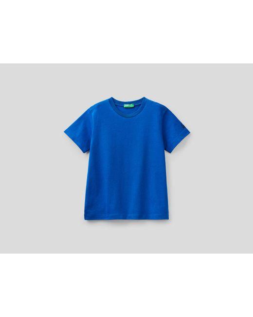 Camiseta De Algodón Orgánico Con Estampado De Logotipo Benetton de color Blue