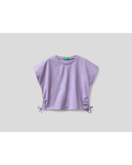 Camiseta De Algodón Elástico Con Lacitos Benetton de color Purple
