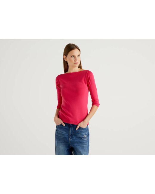 Jersey De 100 % Algodón Con Escote Barco Benetton de color Pink