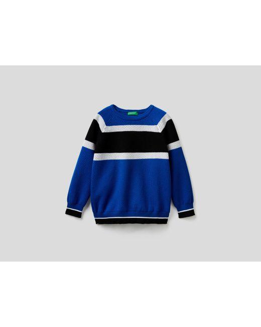 Jersey Con Bandas En Contraste Benetton de color Blue