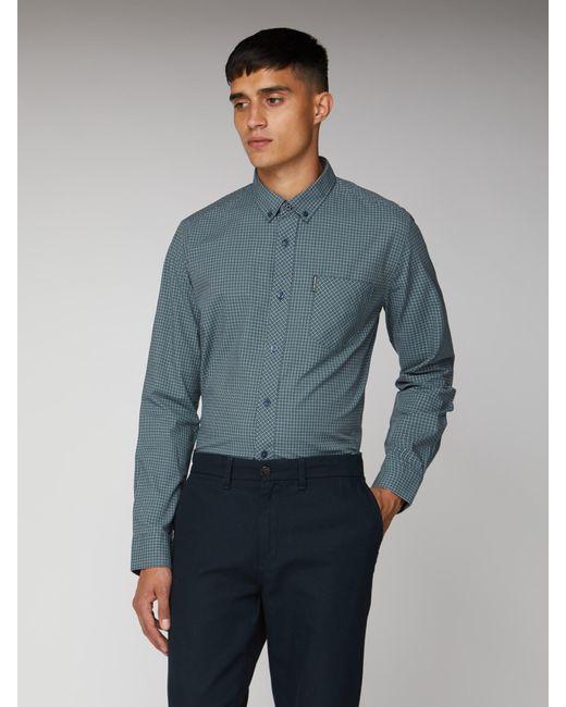 Ben Sherman Blue Long Sleeve New Mini House Gingham Shirt for men