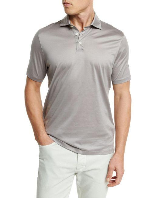 Ermenegildo Zegna | Gray Mercerized Cotton Polo Shirt for Men | Lyst