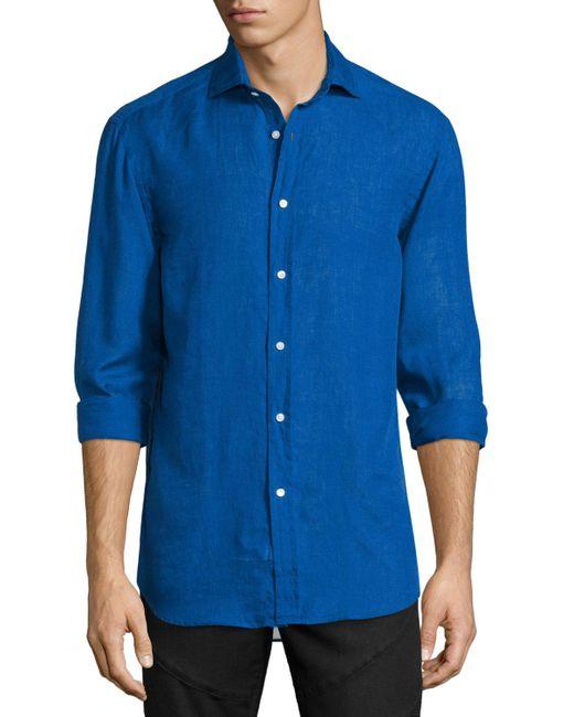 Ralph Lauren - Blue Solid Linen/cotton Long-sleeve Sport Shirt for Men - Lyst