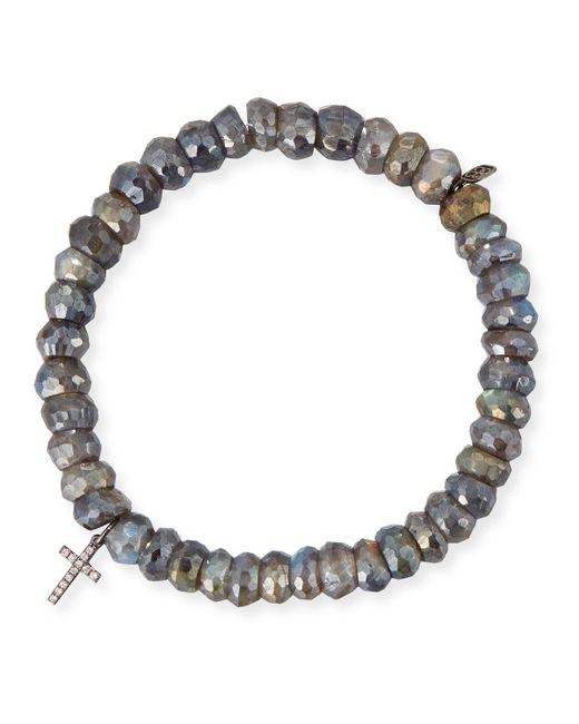 Sydney Evan - Multicolor 8mm Labradorite Beaded Bracelet With Diamond Cross Charm - Lyst