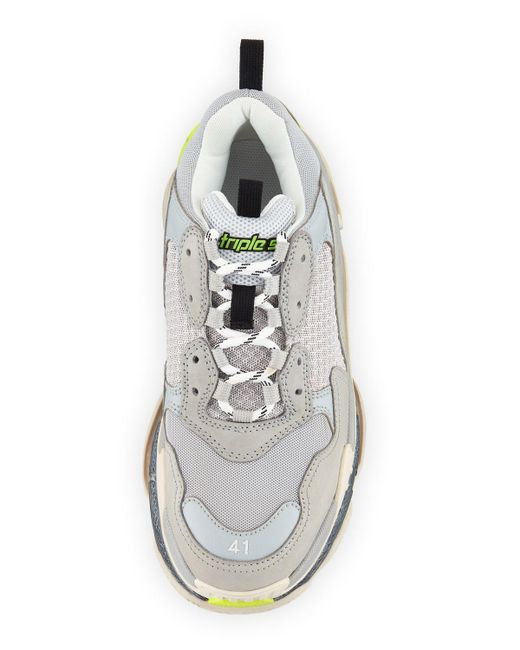 5071dbae5209 ... Lyst Balenciaga - Men s Triple S Mesh   Leather Sneakers Gray for Men  ...