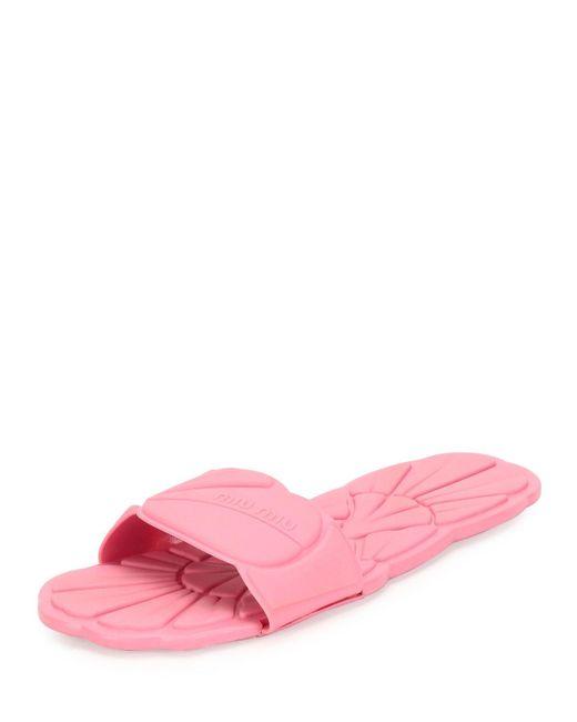 Miu Miu | Pink - Floral Stamped Slides - Women - Rubber - 40 | Lyst