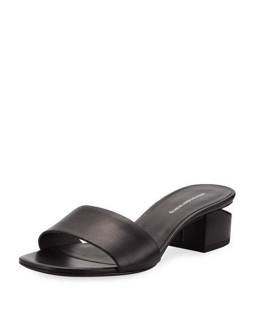 5a8a1cd0dde Alexander Wang - Black Lou 40mm Calf Slide Sandals - Lyst ...