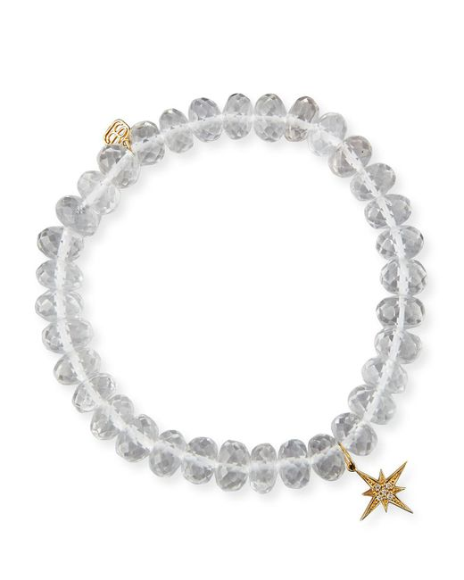 Sydney Evan | White 8mm Faceted Clear Quartz Bead Bracelet With Starburst Charm | Lyst