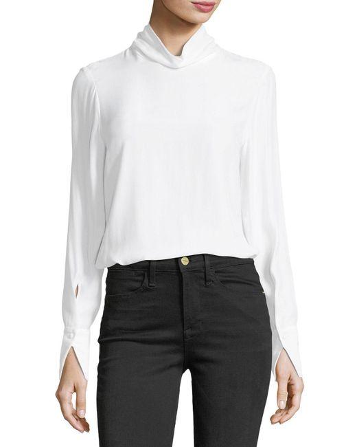 FRAME   White Turtleneck Long-sleeve Silk Blouse   Lyst