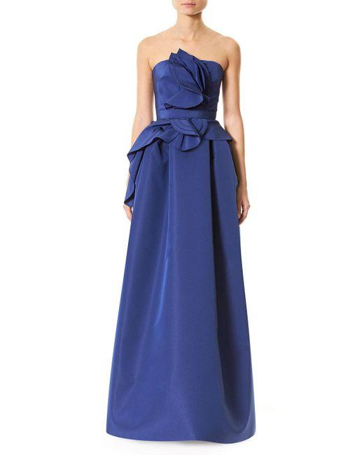 Carolina Herrera   Blue Strapless Silk Faille Ruffle-front Gown   Lyst