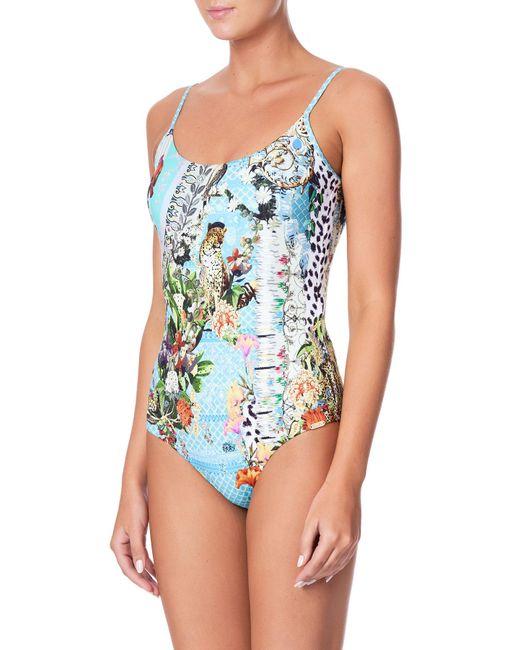 1e5df127b96b9 ... Camilla - Blue Printed Round-neck One-piece Swimsuit - Lyst ...