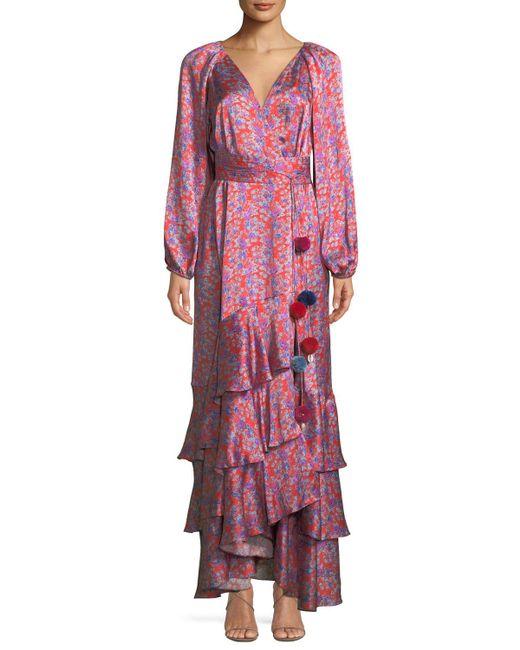 Figue - Federica Long-sleeve Wallpaper Floral-print Tiered Silk Satin Dress - Lyst