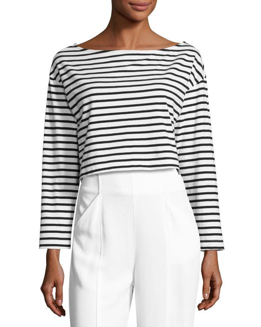 A.L.C. | Black Audrie Long-sleeve Striped Crop Boxy Tee | Lyst