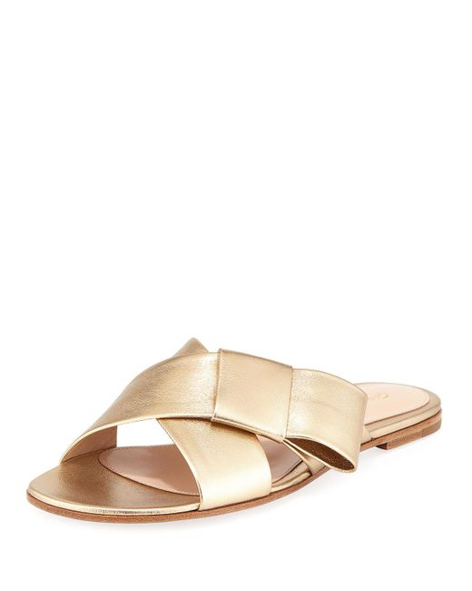 Gianvito Rossi - Flat Metallic Ribbon Slide Sandal - Lyst