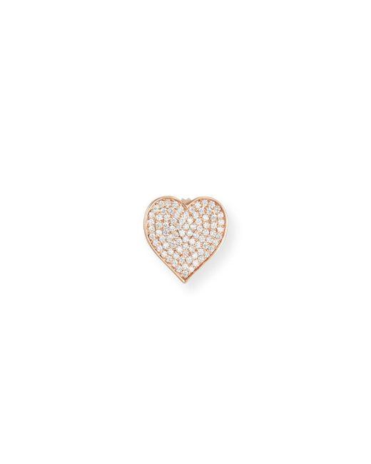 Sydney Evan   Metallic Oversized Heart Stud Earring With Diamonds In 14k Rose Gold   Lyst
