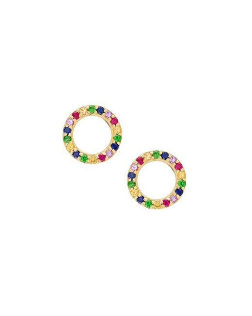 Lana Jewelry - Metallic Girls' Mini Circle Rainbow Sapphire Earrings - Lyst