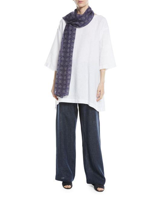 Eskandar - Blue Silk Floral Scarf - Lyst