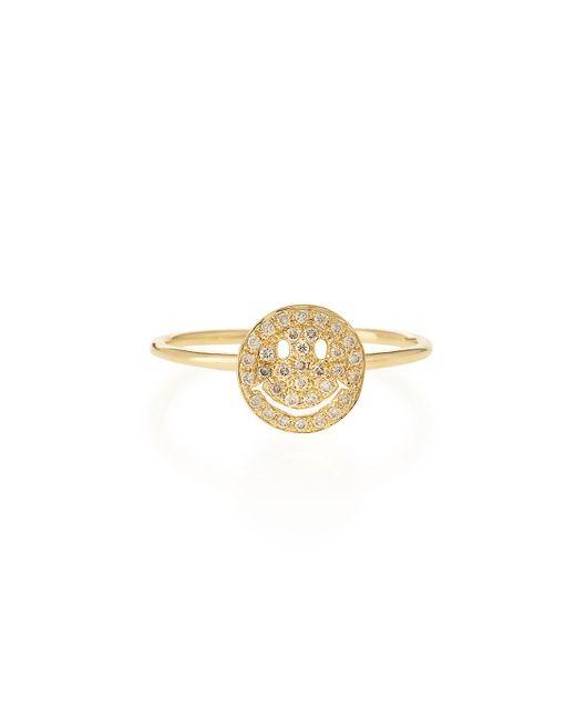 Sydney Evan - Metallic 14k Gold Happy Face Diamond Ring - Lyst