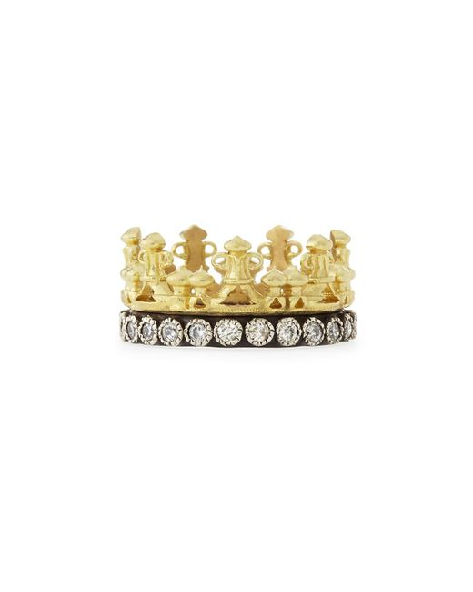 Armenta - Metallic 18k Gold & Midnight Diamond Crown Ring - Lyst