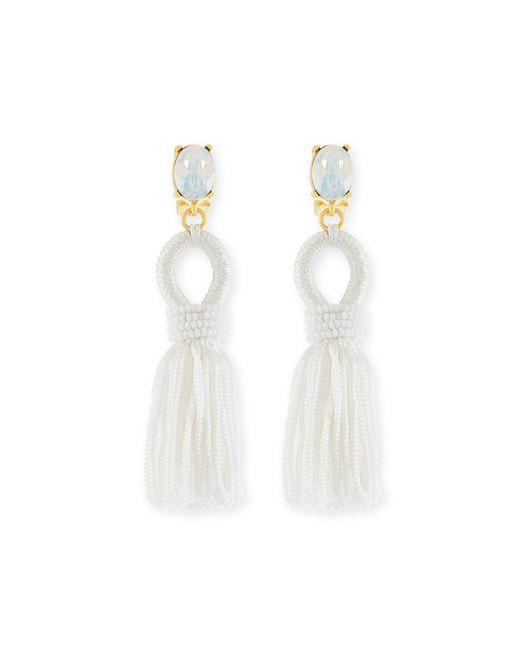 Oscar de la Renta - White Short Silk Tassel Clip Earrings - Lyst