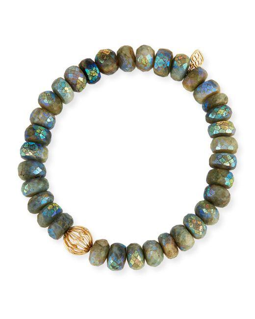 Sydney Evan   Gray Mystic Dark Aqua Beaded Bracelet With Diamond Bezel Ball Charm   Lyst