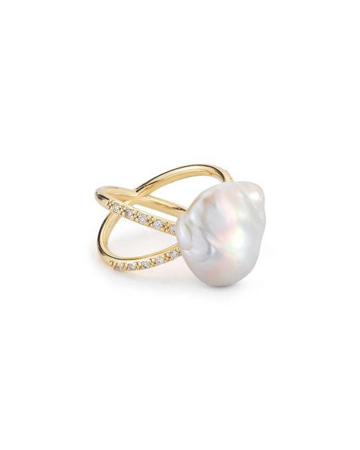 Mizuki   Metallic Pearl & Diamond Crossover Ring In 14k Gold   Lyst