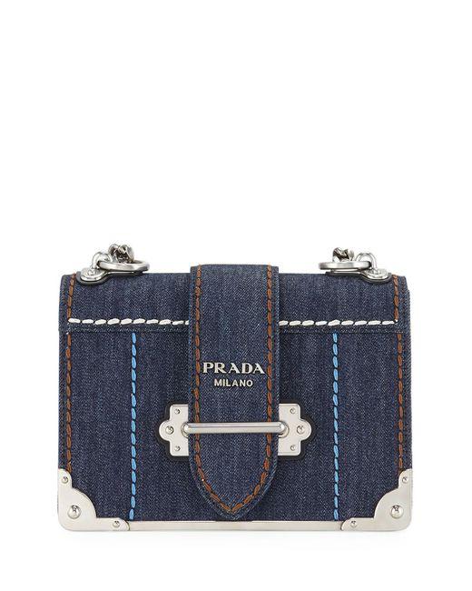 e118983970fbf Prada - Blue Cahier Large Denim Crossbody Bag - Lyst ...