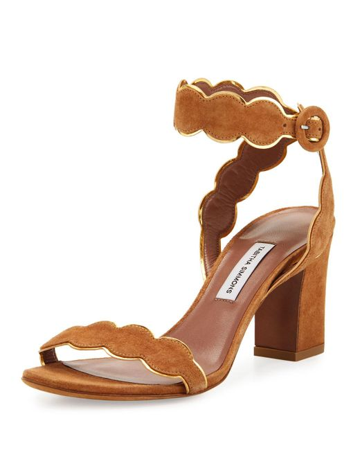 Tabitha Simmons | Brown Cloud Suede Ankle-wrap 75mm Sandal | Lyst